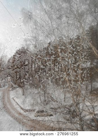 A Picture Of A Frost On The Windowpane. Winter Landscape