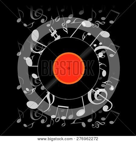 Vinyl Record And Musical Notes On Black Background