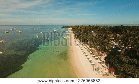 Aerial View Of Tropica Alona Beach On The Island Bohol, Resort, Hotels, Philippines. Beautiful Tropi