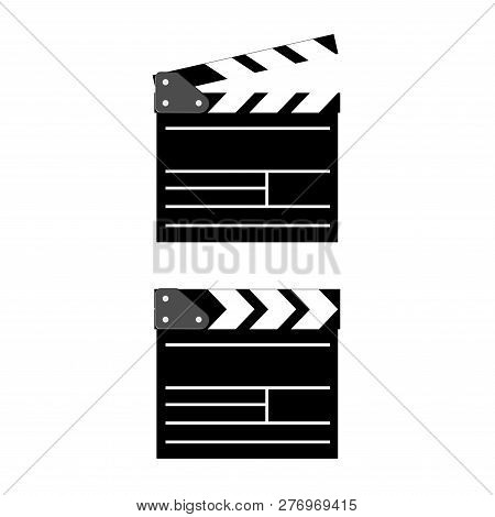 Cinema Clapboard Isolated On Background. Retro Clapperboard For Video Camera Action. Documentary Hol