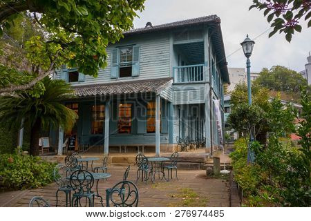 Nagasaki, Japan - October 26, 2018:  Terrace in front of the western style house no.13A in Nagasaki's Higashiyamate district