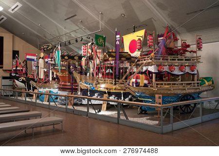 Nagasaki, Japan - October 26, 2018: Display of festival floats from the Nagasaki Kunchi Festival in the Nagasaki Traditional Performing Arts Museum