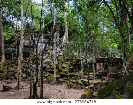 angkor thom, cambodia - 11 29, 2018: beng mealea temple. (lotus pond). strongly mined until 2001.