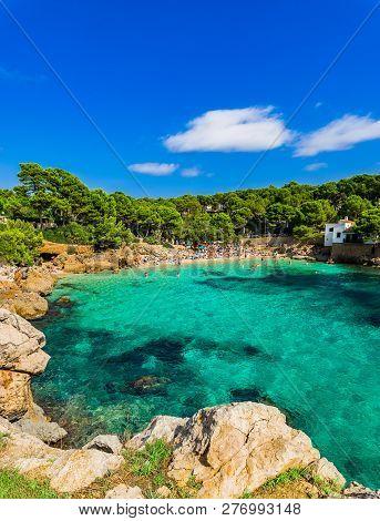 Beautiful Seaside On Majorca Island, Idyllic Bay Beach Of Cala Gat, Spain Mediterranean Sea