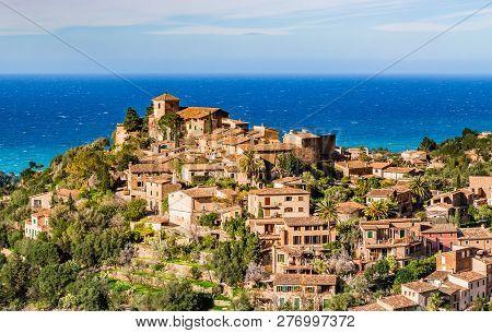Old Mediterranean Village Deia At The Coast In The Mountains Of Majorca Island, Mediterranean Sea Sp