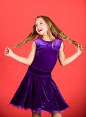 Hairstyle for dancer. How to make tidy hairstyle for kid. Ballroom latin dance hairstyles. Kid girl with long hair wear dress on red background. Things you need know about ballroom dance hairstyle. poster