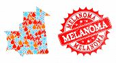 Composition of snowflake and flame map of Mauritania and Melanoma grunge stamp seal. Mosaic vector map of Mauritania is composed with winter and flame icons. Melanoma stamp has red color, poster