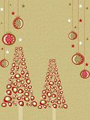greeting card with Christmas trees,Christmas ball and space for text on brown snowflakes background for Christmas, New Year & other occasions. poster