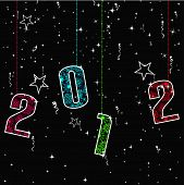 New Year greeting card with hanging 2012 colorful text and shiny stars on black background for New Year & other occasions. poster