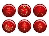 Seasonal set of red glossy sphere isolated  Christmas icons in golden color on white background for Christmas & other occasions. poster