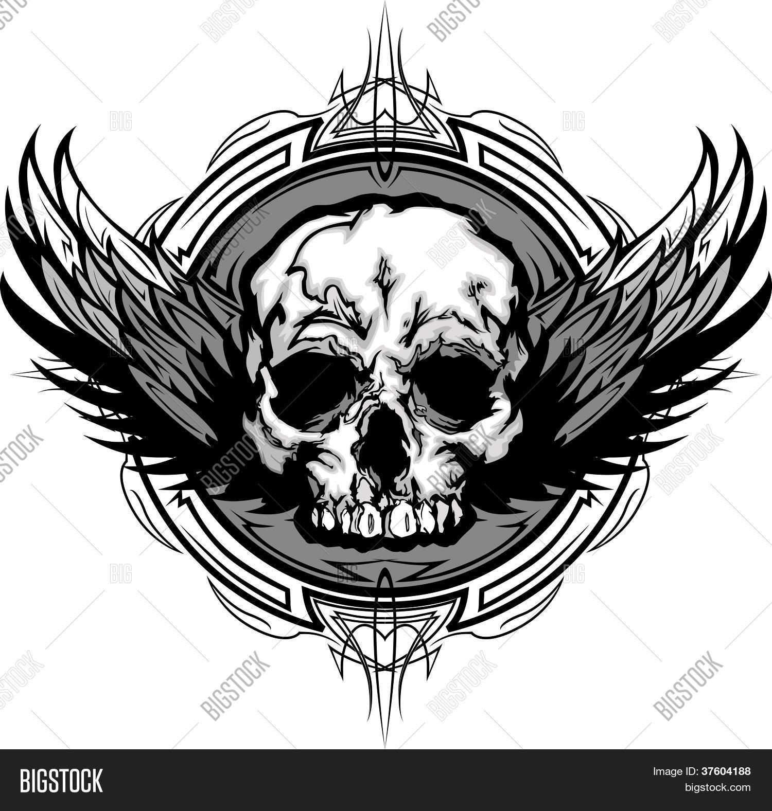 Skull Wings Tribal Vector Photo Free Trial Bigstock