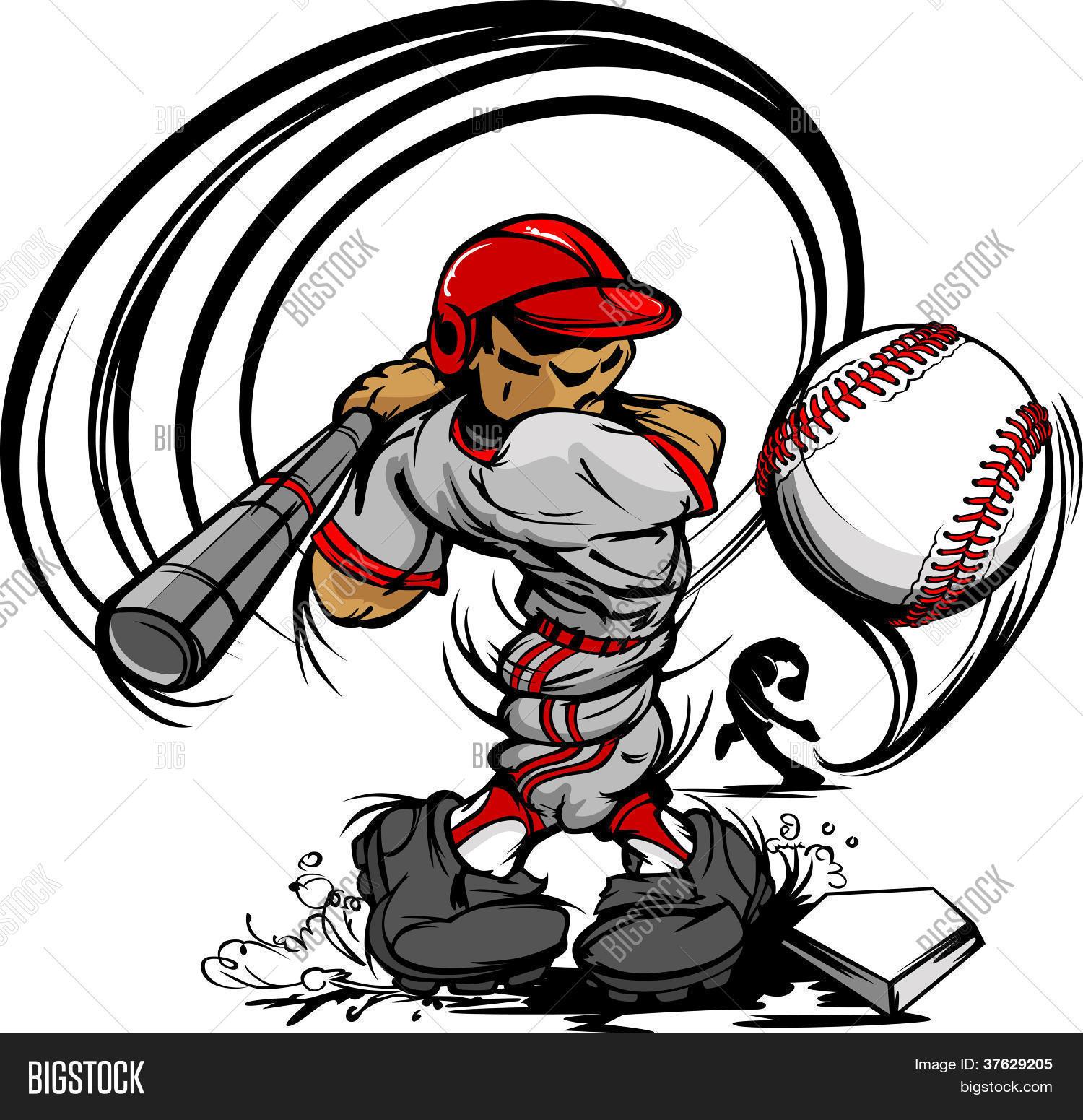 baseball player cartoon swinging vector photo bigstock rh bigstockphoto com Baseball Bat Clip Art Baseball Bat Clip Art