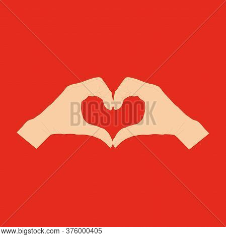 Human Hand Gestures Isolated On A Red Background. Vector Flat Illustration Of Women S Hands In The S