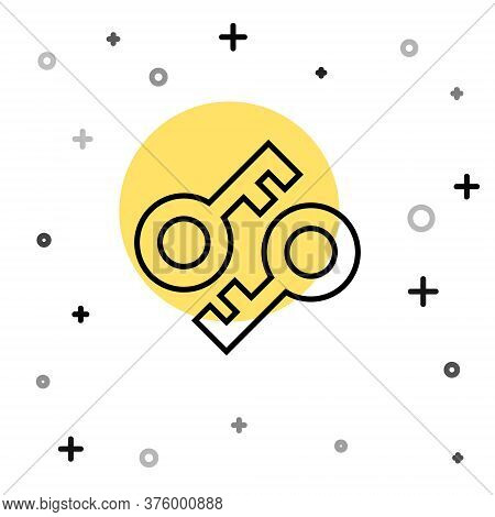 Black Line Cryptocurrency Key Icon Isolated On White Background. Concept Of Cyber Security Or Privat