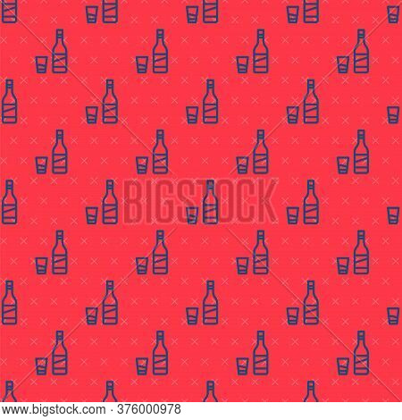 Blue Line Bottle Of Vodka With Glass Icon Isolated Seamless Pattern On Red Background. Vector