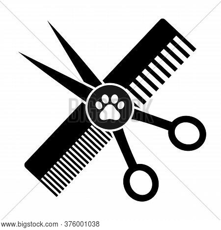 Animal Grooming Emblem. Scissors With A Comb And A Trace Of A Dog On A White Background