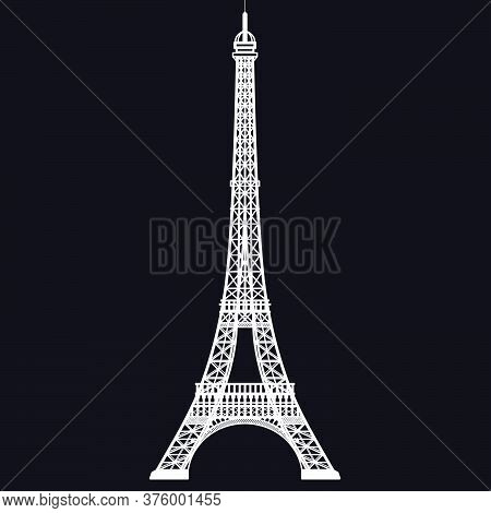 Eiffel Tower Isolated On Black Background - France - Europe