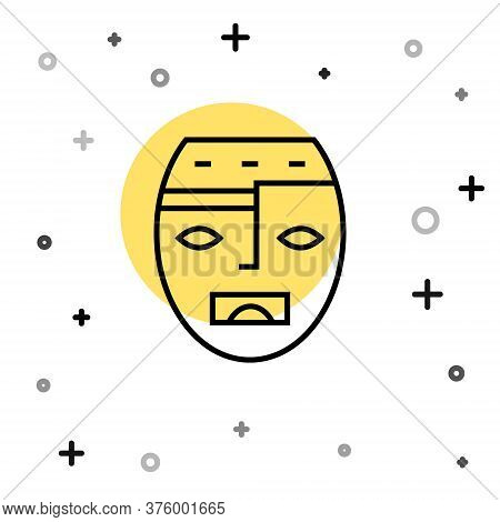 Black Line Mexican Mayan Or Aztec Mask Icon Isolated On White Background. Random Dynamic Shapes. Vec