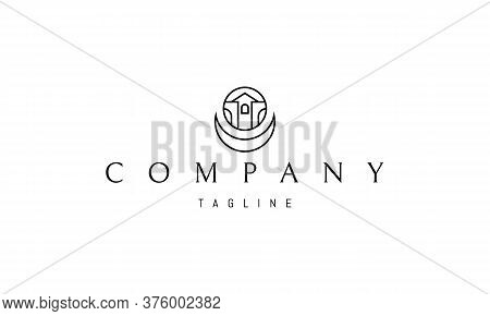 Vector Logo On Which An Abstract Image Of A Chapel And Buildings With Arches In A Circle And With An
