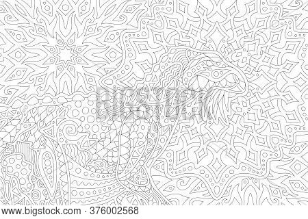 Beautiful Black And White Illustration For Adult Coloring Book With Stylized Dinosaur On The Abstrac