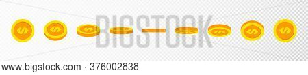 Gold Coin Animation Effect. Rotating Gold Coin And Dollar Sign For Animation. Golden Coins In Differ