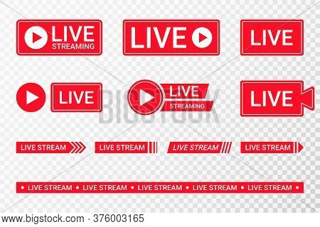 Set Of Live Streaming Icons. Red Symbols And Buttons Of Live Streaming, Broadcasting, Online Stream.