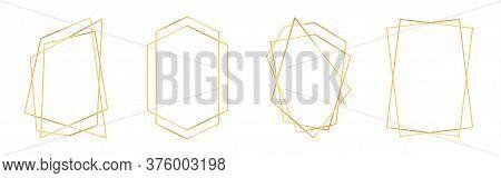 Set Of Golden Geometric Frames In Art Deco Style. Luxury Gold Frames Or Borders For Wedding Invitati