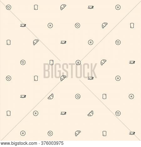 Breakfast Themed Seamless Pattern Background With Bagel, Croissant, Toast, Bun And Coffee