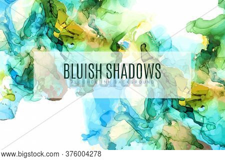 Green, Blue And Gold Shades Ink Background