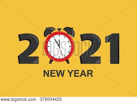 2021 New Year Greeting Card With Alarm Clock. Vector Illustration