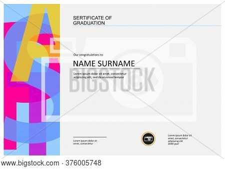 Sertificate Of Graduation, Diploma Template With Space For Your Text, Letters Graphic Design And Cam