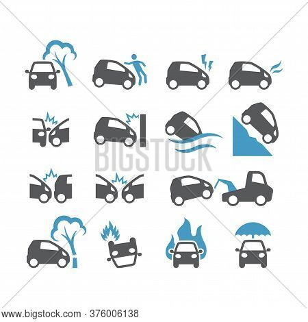 Car Accident, Insurance Black Vector Icon Set. Frontal Collision, Crush, Flood, Fire Car Accidents G