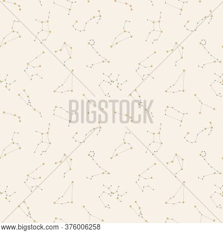 Zodiac Constellations Seamless Pattern Design. Zodiac With Stars And Dashed Line In Gold And Grey Pa