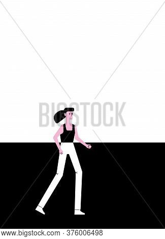 A Running Woman In The Style Of An Animated Film, Cartoony Flat Character, Fluttering Hair. The Colo