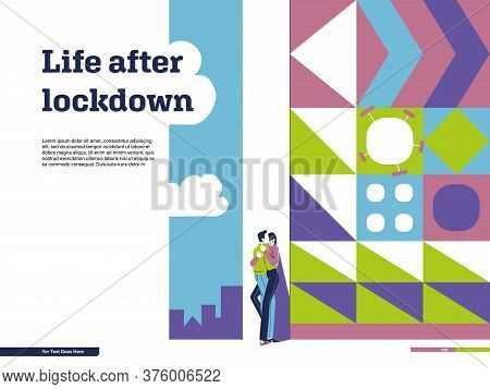 Page Design With Conceptual Illustration On Quitting Quarantine: Life After Lockdown, City, Kissing