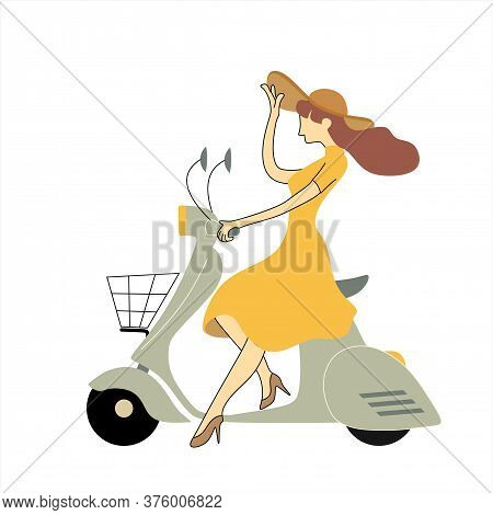 Girl On A Scooter - Vector Illustration. Young Girl On A Gray Scooter.