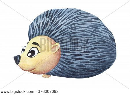 Watercolor Image Of Cute Cartoon Hedgehog With Big Kind Eyes And Neat Needles. Hand Drawn Illustrati