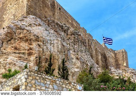 Acropolis Of Athens In Summer, Greece. Famous Acropolis Hill Is Top Landmark Of Old Athens. Landscap