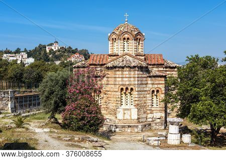 Church Of Holy Apostles In Ancient Agora, Athens, Greece. Scenic View Of Monument Of Byzantine Cultu