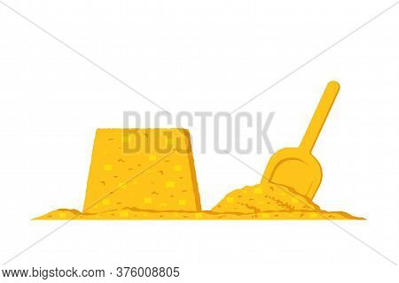 Vector Sand Cake And Shovel In Sand Isolated On White Background