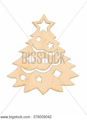 Light Unfinished Wood Christmas Tree With Stars And Bulbs Cut Out Isolated On White