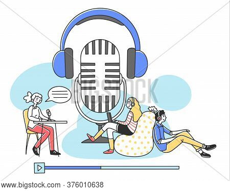 People Listening Radio Podcast Online Flat Illustration. Speaker Sitting And Talking To Microphone A