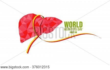 Ribbon For Hepatitis. Vector Illustration Of World Hepatitis Day July 28. Background Template Use Fo
