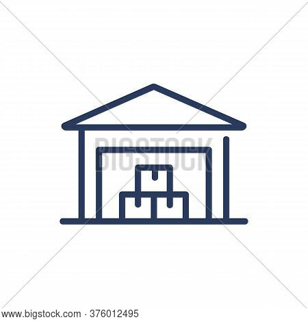 Warehouse With Boxes Thin Line Icon. Parcel, Cardboard, Building Isolated Outline Sign. Merchandisin
