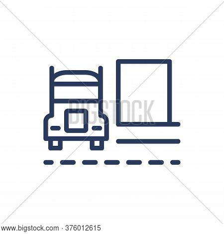 Shipping Truck Thin Line Icon. Van, Transport, Vehicle Isolated Outline Sign. Delivery Service And S