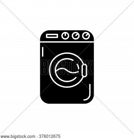 Laundromat Black Glyph Icon. Public Laundry Place. Electric Washing Machine. Apartment Amenity. Tech