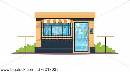 Outdoor Bistro Semi Flat Rgb Color Vector Illustration. Small Snack Bar With Tables. Closed Cafe, Bu