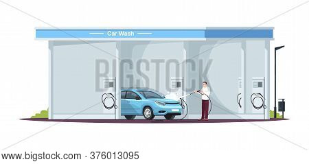 Car Wash Service Semi Flat Rgb Color Vector Illustration. Carwashing Station And Attendant. Touchles