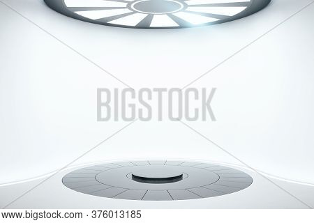 Abstract Light Futuristic Warp In Interior With Luminous Disc On Ceiling. Future And Design Concept.