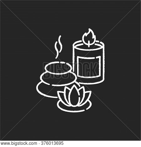 Spa Resort Chalk White Icon On Black Background. Wellness Tourism, Health Sanatorium. Relaxation Pro